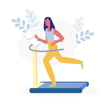 Female athlete on running track flat illustration