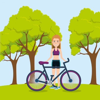 Female athlete with bicycle illustration