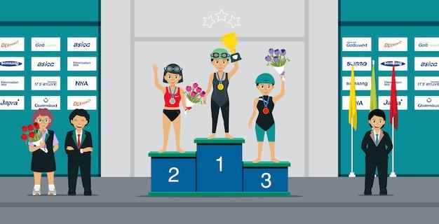 여자 선수들은 메달과 트로피를 받고있다