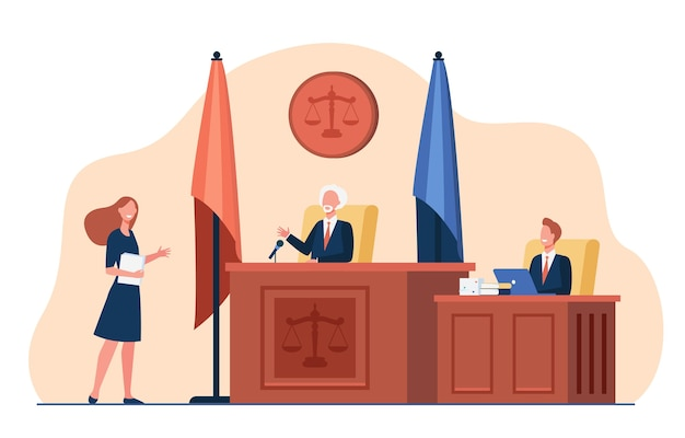 Female attorney standing in front of judge and talking isolated flat illustration.