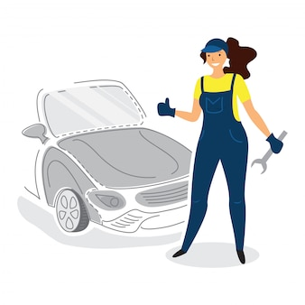 Female auto mechanic mechanic in flat style with thumb up