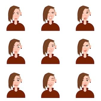 Female avatar with emotions cartoon style.