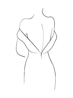 여성 백 라인 아트입니다. 패션 개념, 여성의 아름다움 미니멀리스트, 티셔츠를 위한 벡터 일러스트레이션.