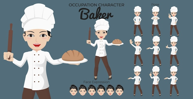 Female baker character set with variety of pose and face expression