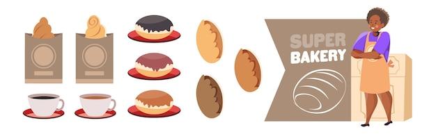 Женщина-пекарь в униформе, продающая различные хлебобулочные изделия, кондитерские изделия, концепция выпечки, полная длина, изолированная горизонтальная векторная иллюстрация