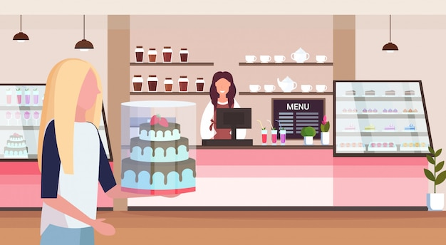 Female bakery shop owner standing behind bar counter young woman customer holding cake modern cafeteria interior flat horizontal cartoon character portrait