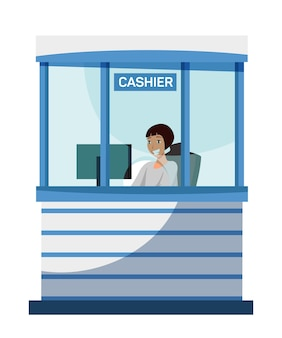 Female bank cashier character sitting at cash department window