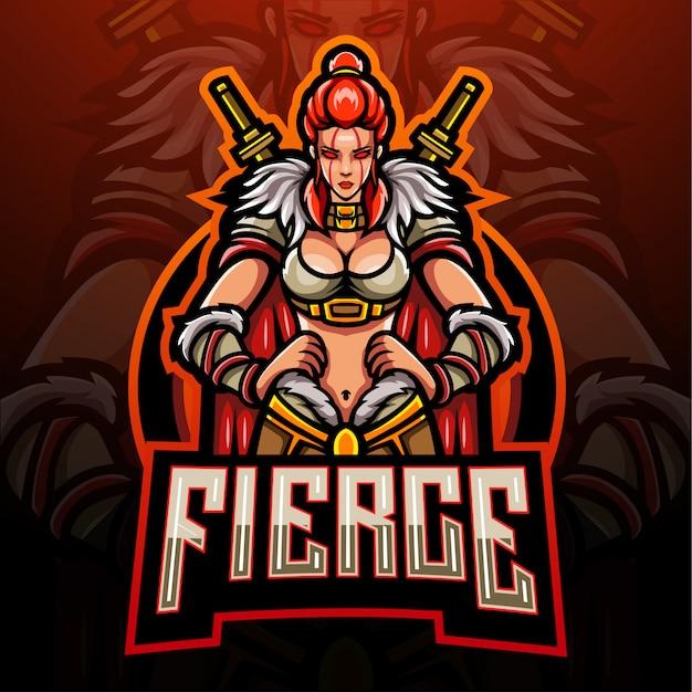 Female barbarian esport logo mascot design