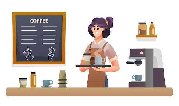 コーヒーショップカウンターイラストでトレイとコーヒーを運ぶ女性バリスタ