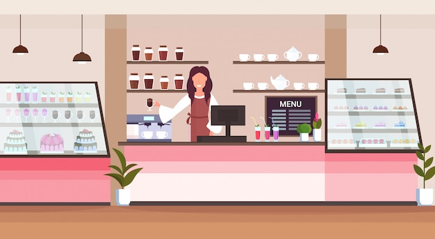 Female barista coffee shop owner smiling woman standing behind bar counter modern cafeteria interior flat horizontal cartoon character portrait