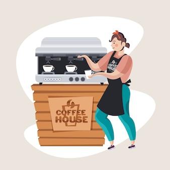 Женщина-бариста в униформе, готовящая кофе из кофеварки за стойкой в кафе, полная векторная иллюстрация