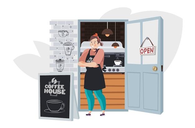 Женщина-бариста в униформе, работающая в кафе, концепция кофейни, полная горизонтальная векторная иллюстрация