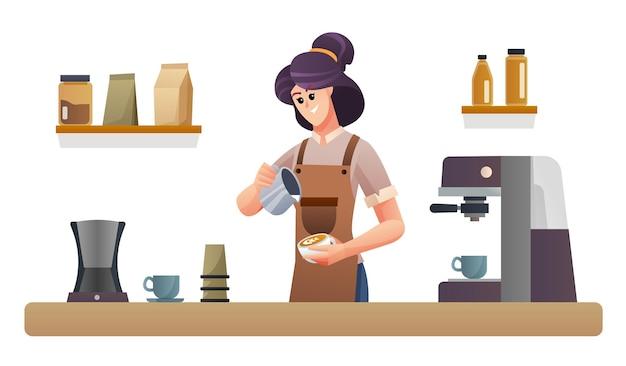 喫茶店カウンターイラストでコーヒーを作る女性バリスタ