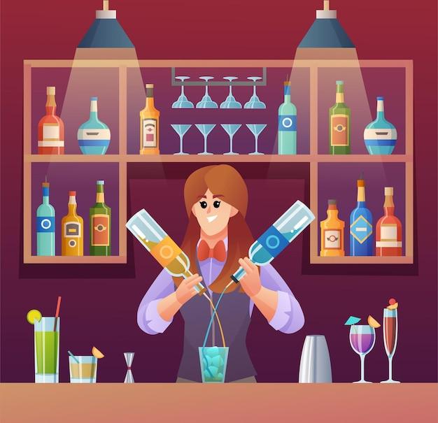 バーカウンターのコンセプトイラストで飲み物を混ぜる女性バーテンダー