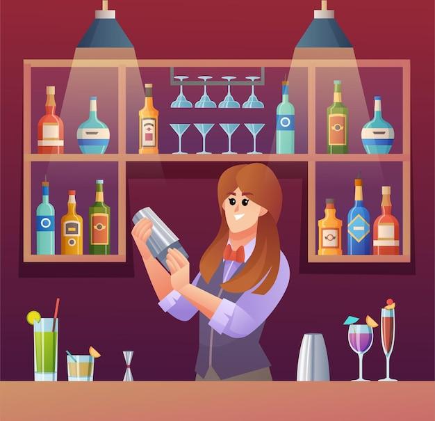 Female bartender mixing drinks at bar counter cartoon illustration