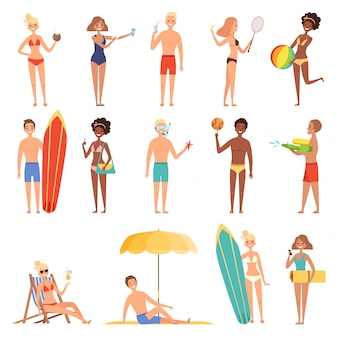 Female on beach. summer vacation or holidays people playing and sunbath sitting on deckchairs hot sun  characters