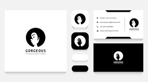 Female beauty and hairstyle logo template and business card
