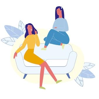 Female best friends talking flat illustration