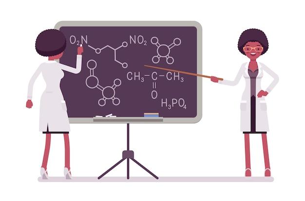 黒板に女性の黒の科学者。白衣の指導における物理的で自然な実験室の専門家。科学と技術の概念。白い背景の上のスタイル漫画イラスト