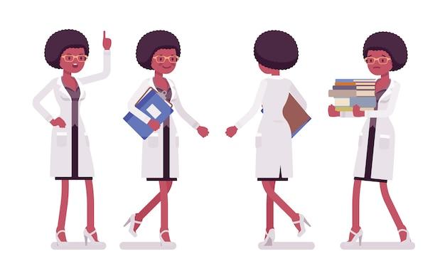 Женский черный ученый ходьба. эксперт физической, натуральной лаборатории в белом халате. наука, концепция технологии. иллюстрации шаржа стиля на белом фоне, спереди, вид сзади