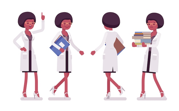 Female black scientist walking. expert of physical, natural laboratory in white coat science, technology concept.   style cartoon illustration  on white background, front, rear view