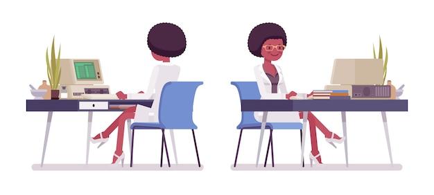 Женский черный ученый, работающих на стол. эксперт физической, натуральной лаборатории в белом халате за компьютером. наука, концепция технологии. иллюстрации шаржа стиля, белый фон