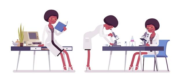 Женский черный ученый работает. эксперт физической или натуральной лаборатории по изучению шерсти на микроскопе. наука, концепция технологии. иллюстрации шаржа стиля, белый фон