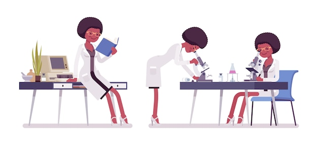Female black scientist working. expert of physical or natural laboratory in coat studies at microscope. science, technology concept.   style cartoon illustration , white background