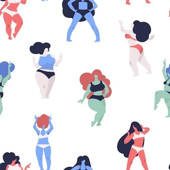 Female bodies in underwear plus size and slim