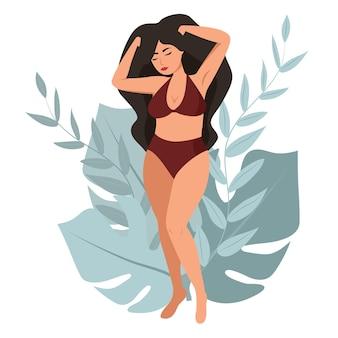 여성의 몸. 몸은 긍정적이다. 개념은 자신을 사랑하고 몸을 사랑합니다.