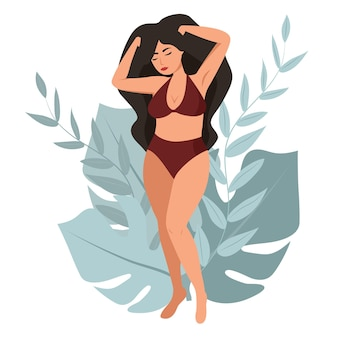 Female body. body positive. concept  love yourself and love your body.