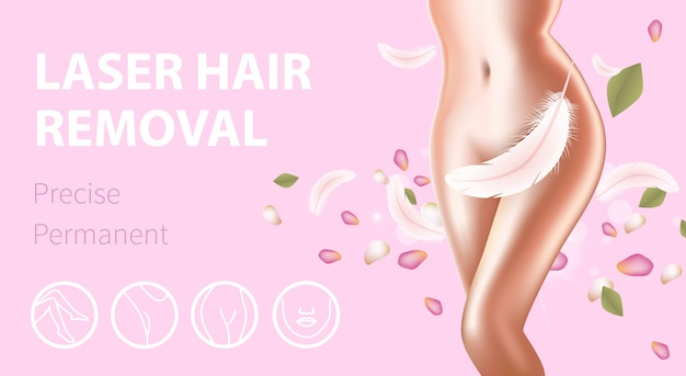 Female body with feather and petals promo banner template