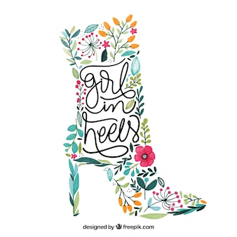 Female boot made of flowers with inspiring quote