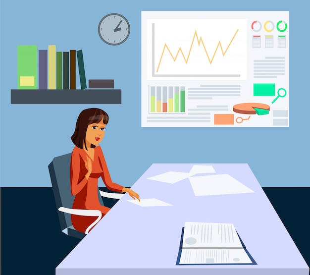 Female boss documents graph growth vector drawing