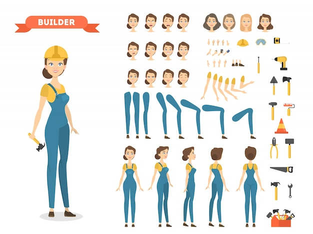 Female builder character set. poses and emotions.