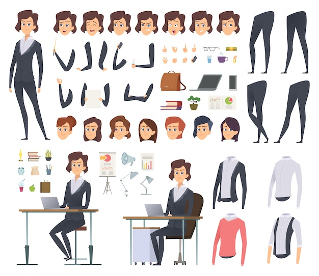Female business animation. director office manager woman body parts clothes and business wardrobe items character creation kit
