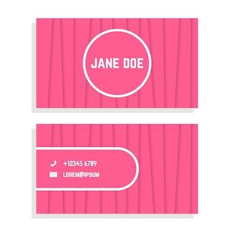 ピンクの縞模様の女性の名刺。ビジネスライクなセレモニー、チラシ、ビジュアルアイデンティティ、名刺のコンセプト。白い背景で隔離。フラットスタイルトレンドモダンなロゴデザインベクトルイラスト