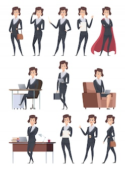 Female business characters. company office workers action pose making different works with self business items