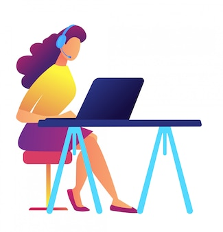 Female call center operator working vector illustration.
