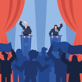 Кандидат-женщина обсуждает в день выборов дизайн векторной иллюстрации
