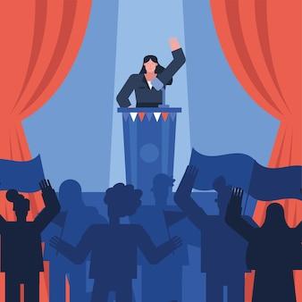 スピーチ選挙日ベクトルイラストデザインを与える女性候補者