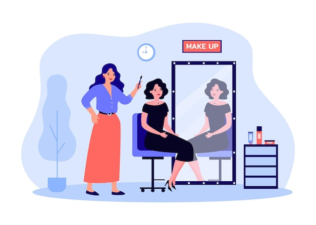 Female cartoon celebrity sitting in makeup artist chair. beautiful actress in dress in front of retro mirror, stylist with brush flat vector illustration. beauty salon or service, cosmetics concept