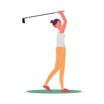 Женский мультипликационный персонаж игрока в гольф качается, чтобы нанести удар плоской векторной иллюстрации, изолированной на белой поверхности