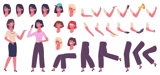 Female cartoon character. woman body constructor, girl with clothes, hairstyle, hand gestures and facial emotions  illustration icons set. constructor female and male, woman girl generator pose