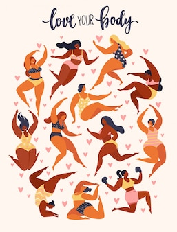 Female cartoon characters. body positive movement and beauty diversity. Premium Vector