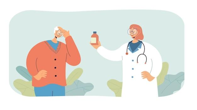 Female cartoon doctor giving pills to sick elderly patient