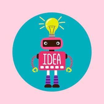 Женский мультфильм робот с новой иллюстрацией идеи