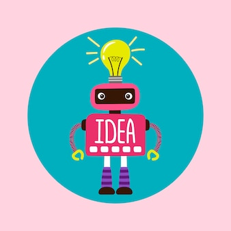 Female cartoon robot with new idea  illustration