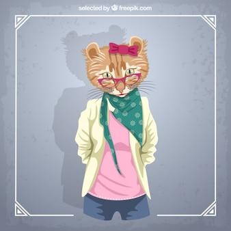 Female cat fashion model