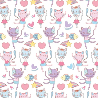 Female cats animals with hearts and fish background